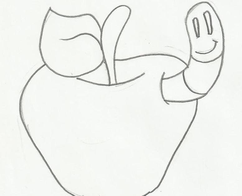 Gifs E Desenhos: Desenho De Maçã E Lagarta Para Colorir