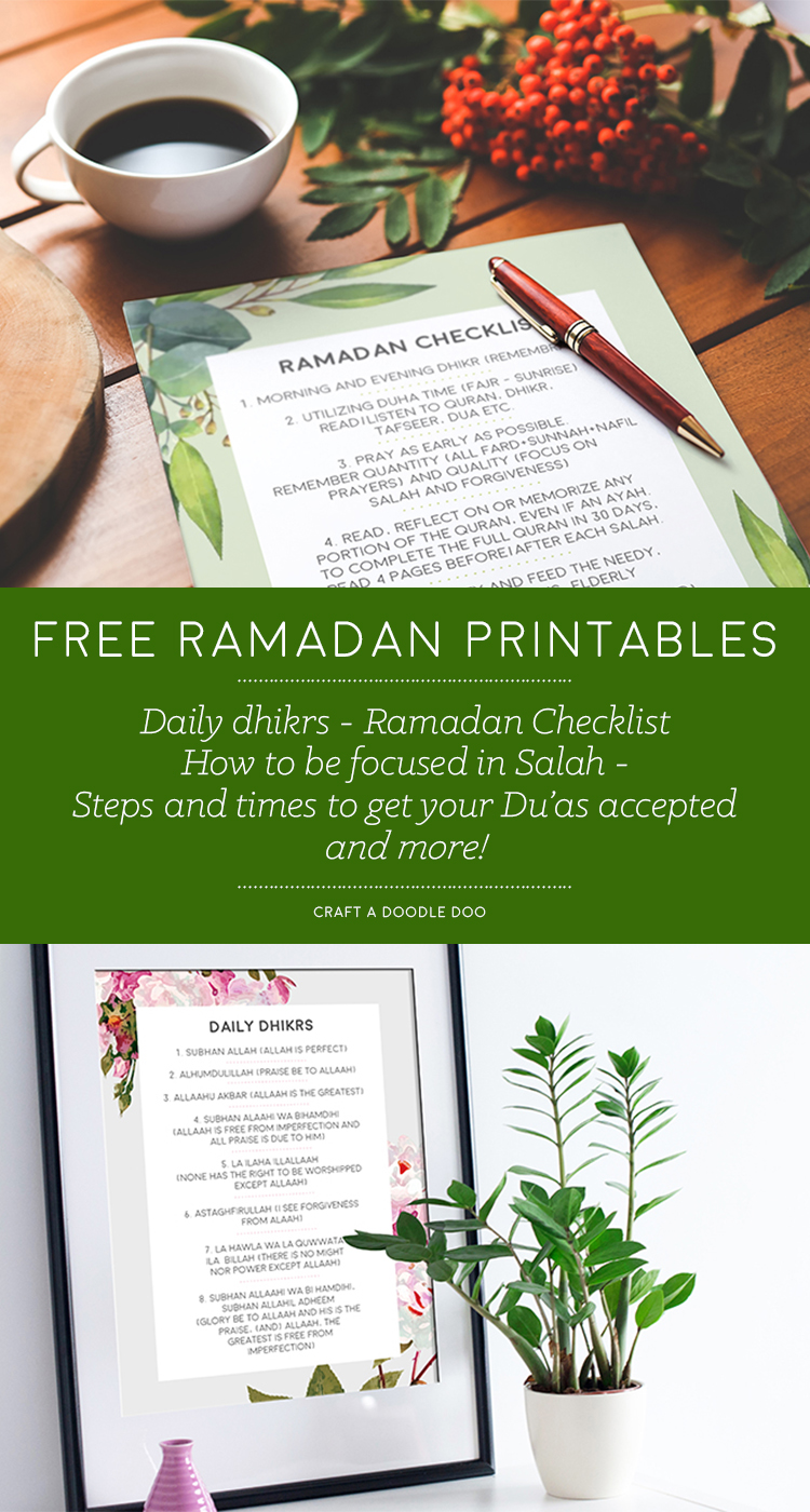 Free Ramadan Printables: Checklist, Reminders and more! #free #printables #ramadan #islam #eid #planner #checklist #fasting #prayer