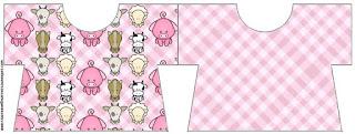 Tarjeta con forma de camisa de La Granja Bebés en Rosa.
