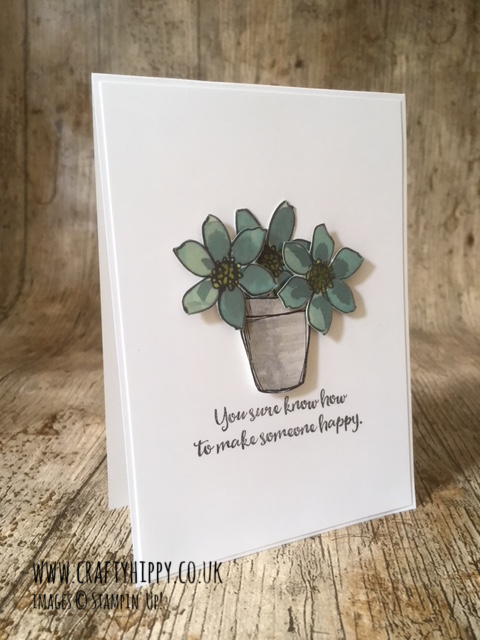 This image shows a handmade card with a flowerpot design made using the Crafting Forever Stamp Set by Stampin' Up!