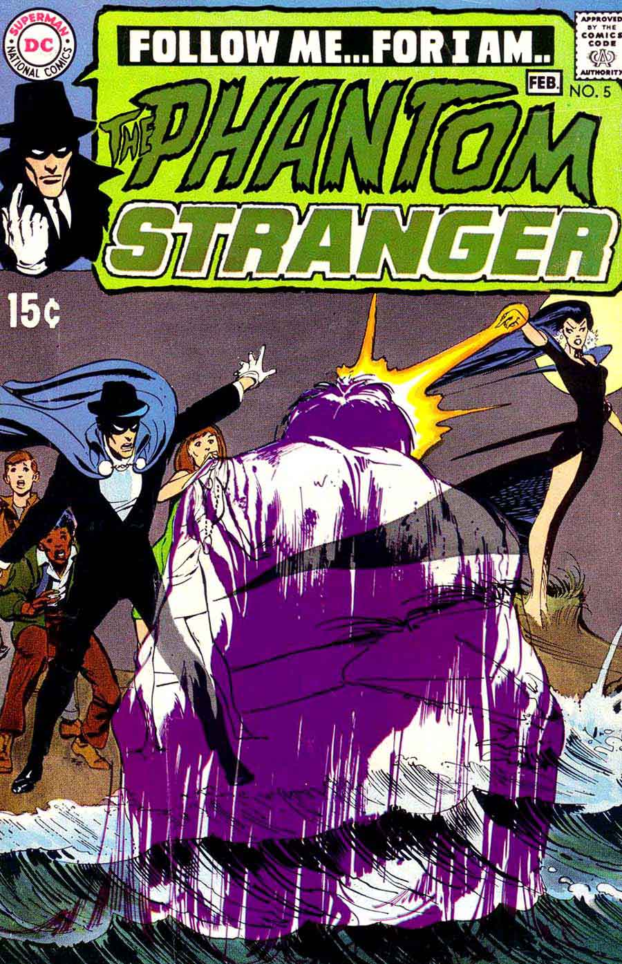 Phantom Stranger #5 - 1970s dc horror comic book cover art by Neal Adams