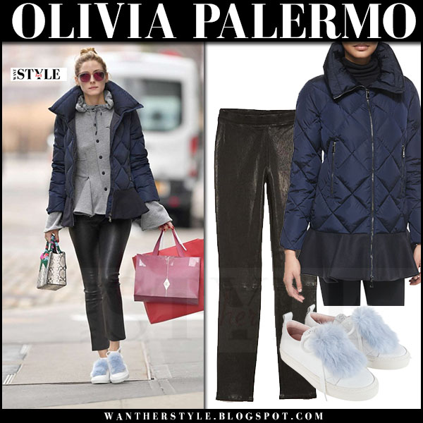 Olivia Palermo in navy blue puffer moncler vouglans coat, black leather j brand edita leggings and white fur embellished sneakers josefinas louise what she wore
