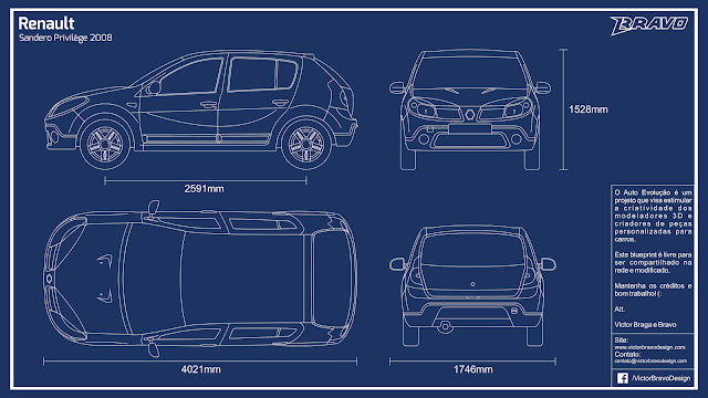 Imagem do blueprint do Renault Sandero Privilège 2008