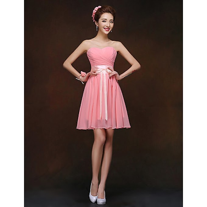SHORT/MINI BRIDESMAID DRESS - WATERMELON SHEATH/COLUMN SWEETHEART