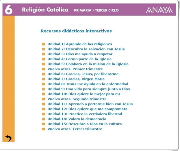 """""""Recursos Didácticos Interactivos Anaya. Religión de 6º de Primaria"""" (Abre la puerta)"""