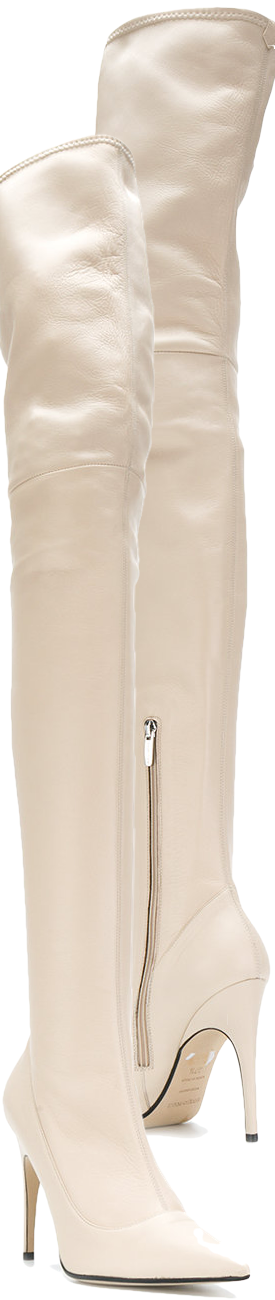 SERGIO ROSSI Over-The-Knee Heeled Boots in Nude
