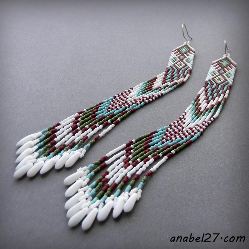 купить индейские серьги из бисера украина россия