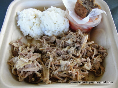 plate lunch at Hanalei Taro & Juice Co. food truck in Kauai, Hawaii