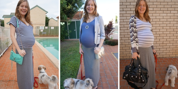 jersey maxi skirt in third trimester | away from the blue blog