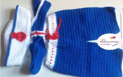 Conjuntinho de marinheiro em crochê