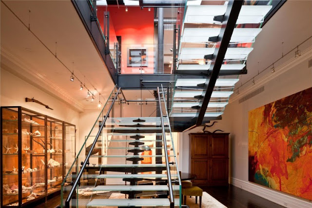Photo of glass staircase in the Tribeca triplex