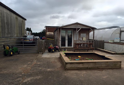 Kids outdoor tractors and sandpit plus indoor play barn at Moorhouse Farm Shop Stannington, near Morpeth, Northumberland