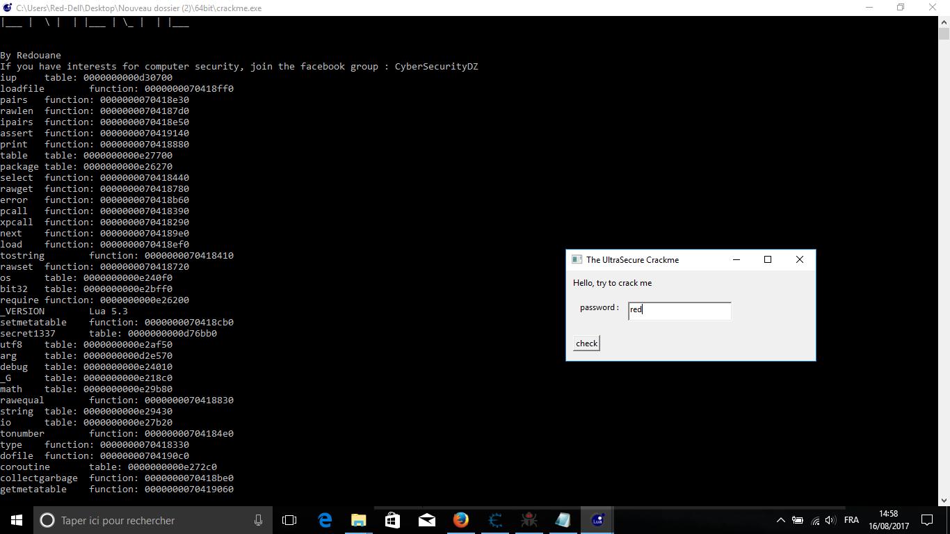 Cracking Lua program using code injection