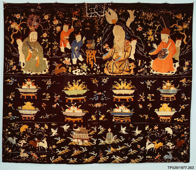 17th-18th century Chinese embroidered altar hanging