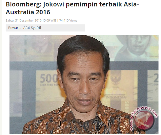 """Antara News, """"Bloomberg: Jokowi pemimpin terbaik Asia-Australia 2016"""""""