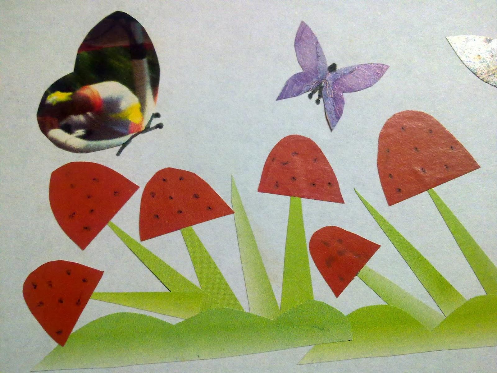 Craft Art Mushrooms And Butterflies Of Paper Art Paper