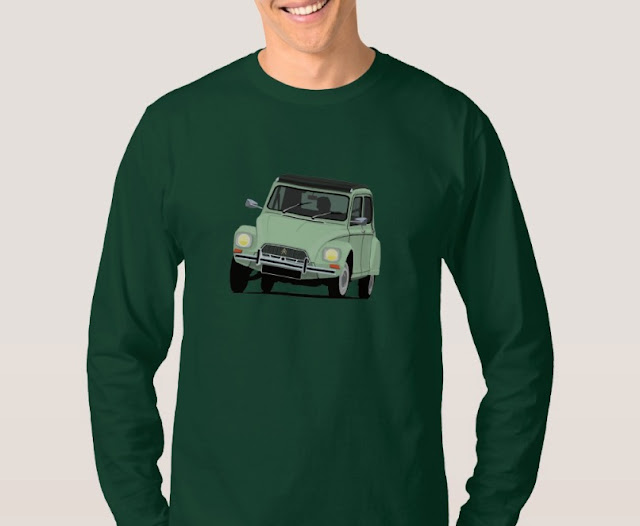 Green vintage Shirt - Citroen Dyane