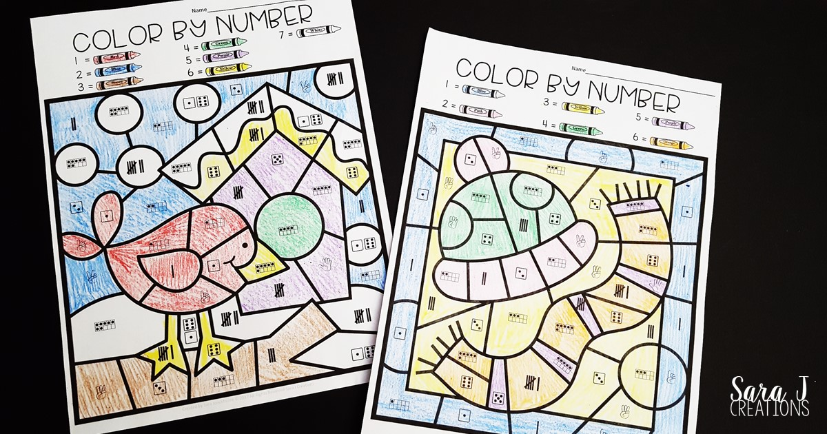 Winter subitizing color by number sheets are the perfect activity for kindergarten students to practice and build number sense skills. Download your free coloring worksheets now!
