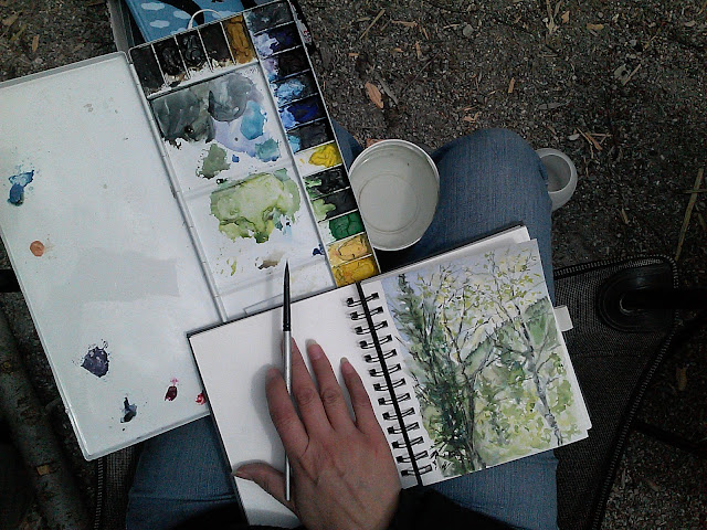 watercolor sketch book in the mountains, travel art kit, Christy Sheeler watercolor artist