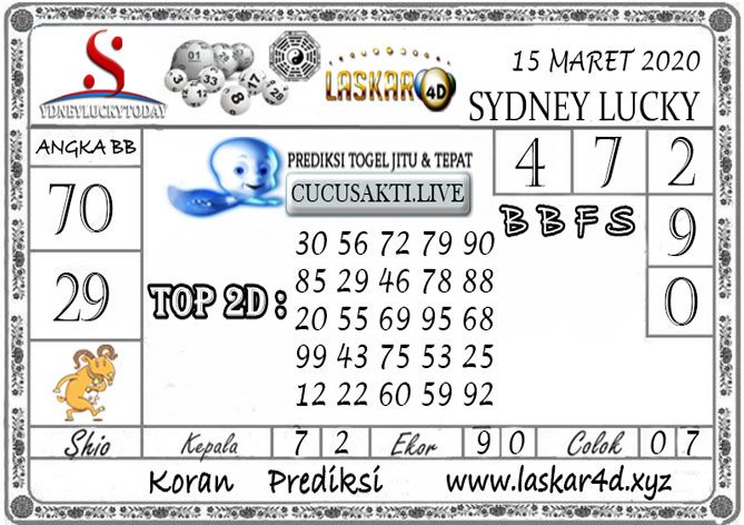 Prediksi Sydney Lucky Today LASKAR4D 15 MARET 2020