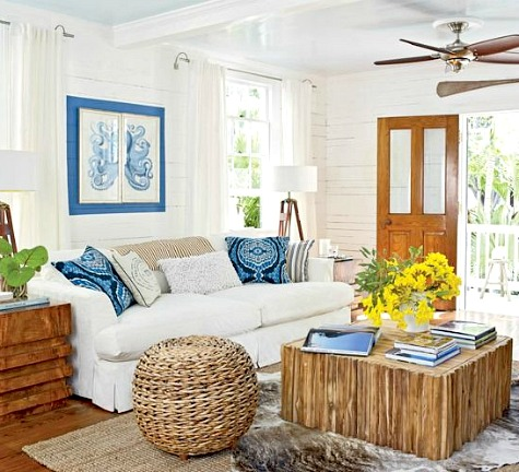 Blue and White Coastal Cottage Living Room