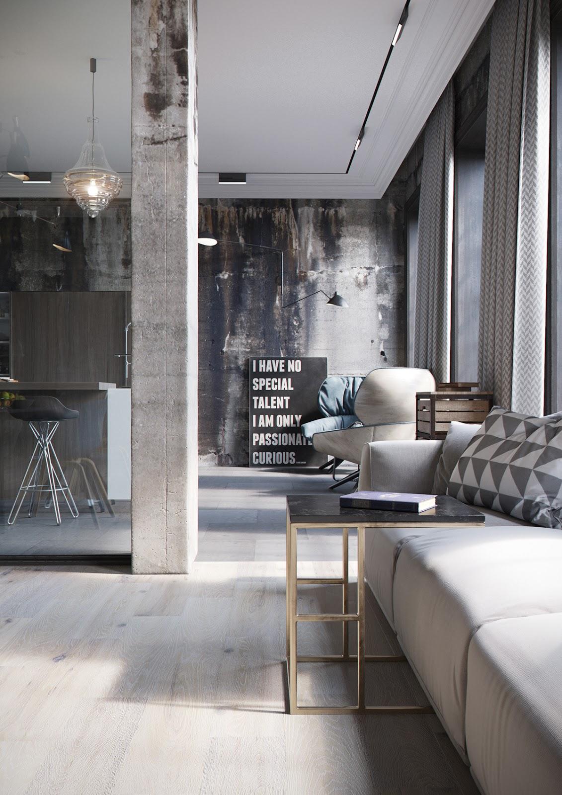 Decordemon industrial loft by denis krasikov for Interior house design with loft