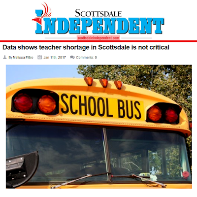 Snapshot from Scottsdale Independent story.  Image of a school bus.  Text: Data shows teacher shortage in Scottsdale is not critical.