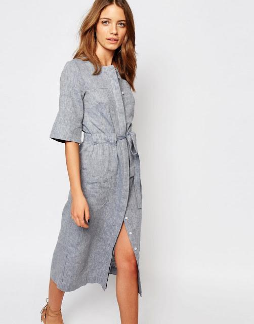 warehouse grey dress, grey linen dress,