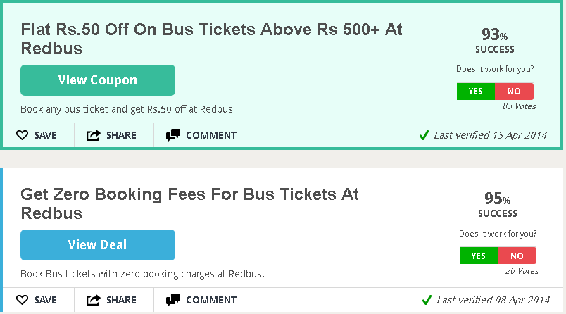 Redbus discount coupons for bus