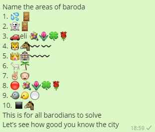 Name the areas of baroda