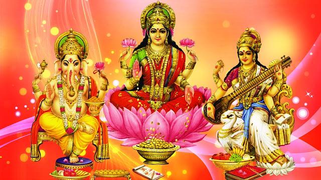 Best Maa Lakshmi & Ganesh With Saraswati / Happy Diwali  Wallpaper