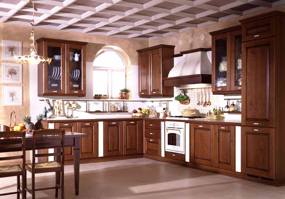 modern house: solid wood kitchen cabinet