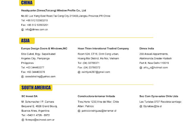Địa chĩ các nhà phân phối thanh Profile Dimex ở các khu vực trên thế giới