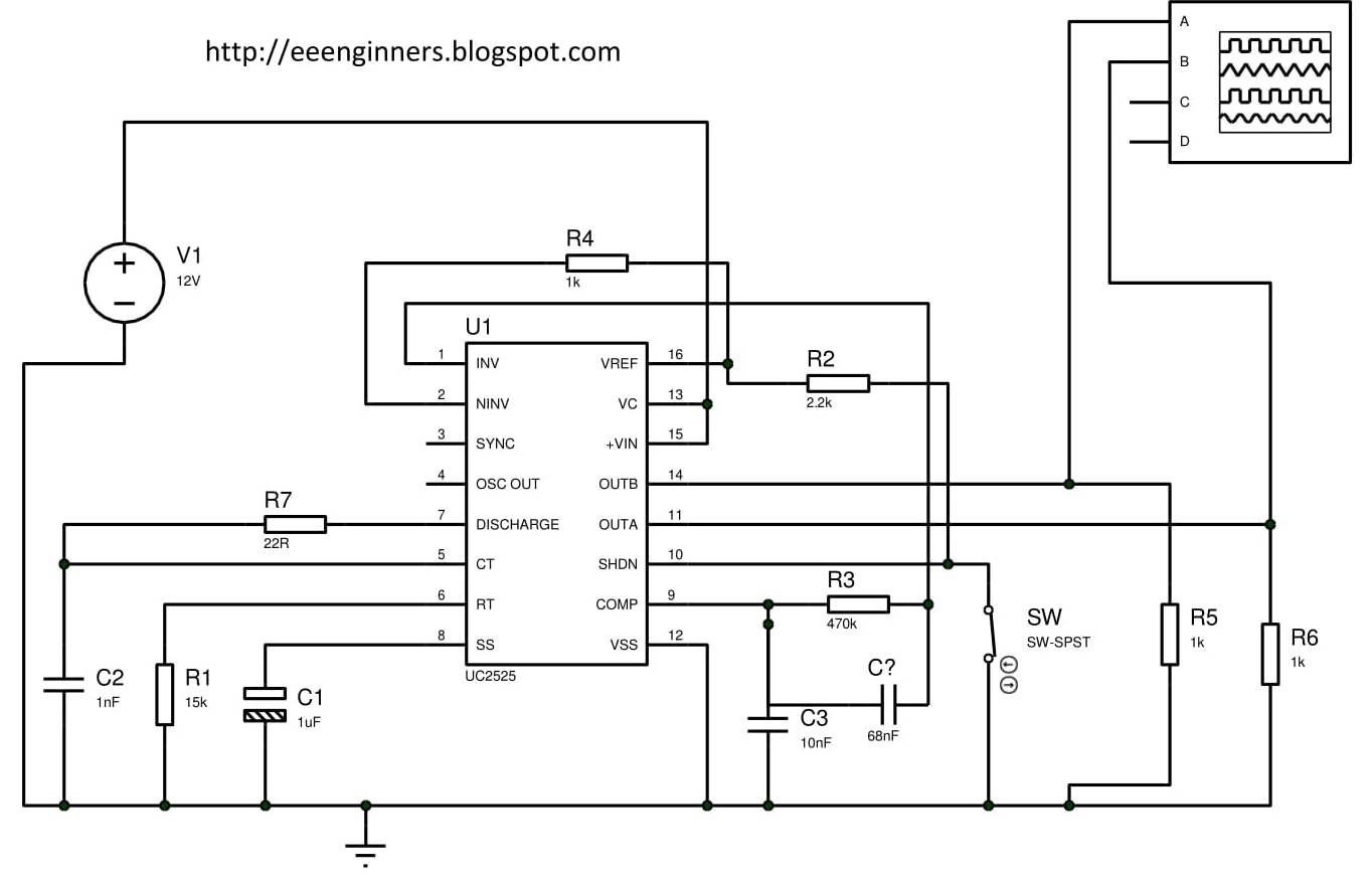 Eeenginners Diagram Further H Bridge Motor Driver On Inverter Schematic It Is Connected With Ground Pin 16 Reference Used For Setting Through 1 And Pin2 Here Of Sg3525 Circuit