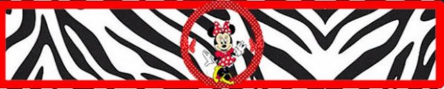Etiquetas para Imprimir Gratis de Minnie Cebra y Rojo.