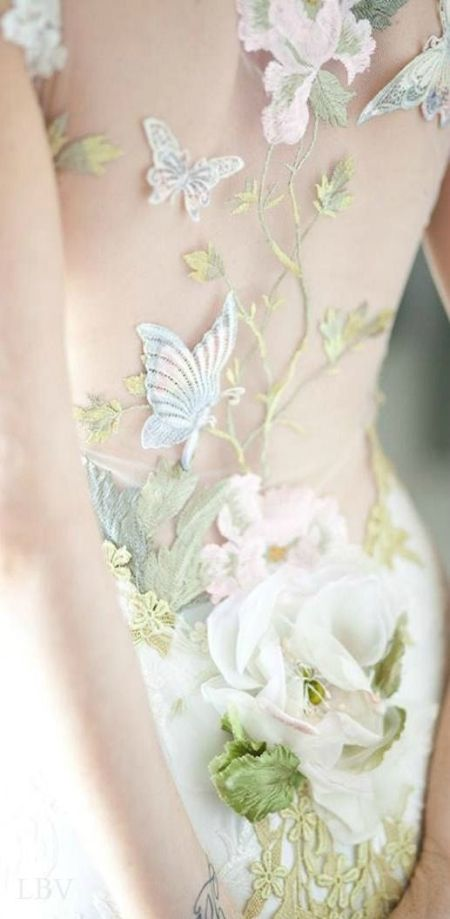 runway details: Claire Pettibone 'Papillon' wedding dress, Still Life Collection