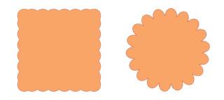 Quadrat und Kreis mit gewellten Rändern