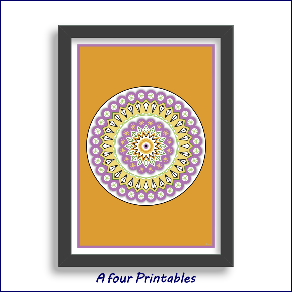 A modern scallop edge mandala design in dark yellow, purple and green for you to print and frame at home