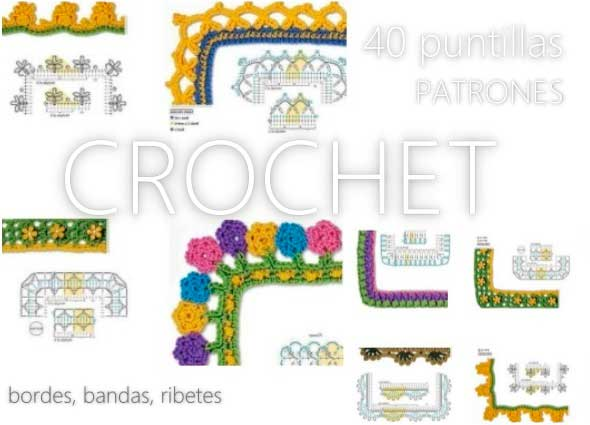 puntillas, bordes, ribetes, crochet, ganchillo, patrones, gráficos