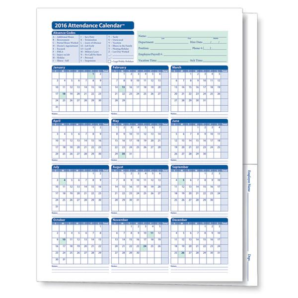 2016 Calendar for Workers Attendance , download free 2016 Calendar ...