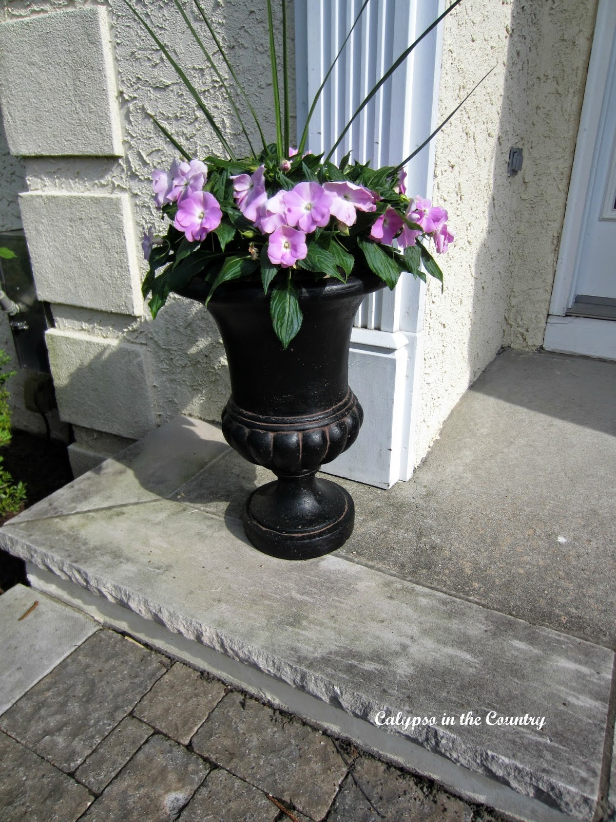 Black Urn on front porch