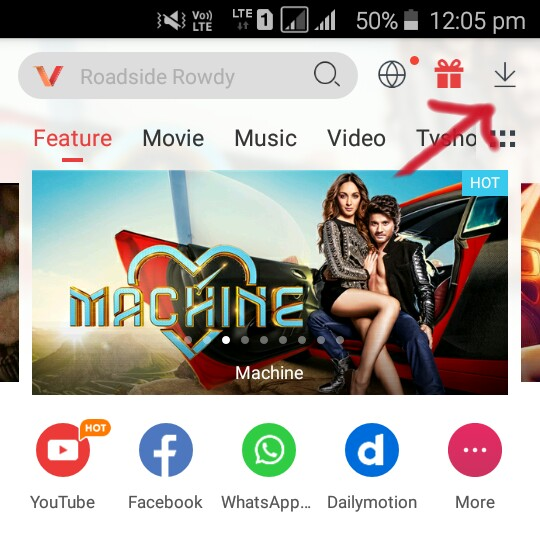 vidmate par download section par jaye