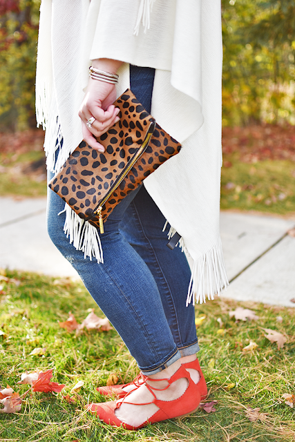 francescas cream fringe wrap j.crew red top and denim madly yours leopard clutch topshop lace up flats david yurman cable bracelets pearl double sided earrings