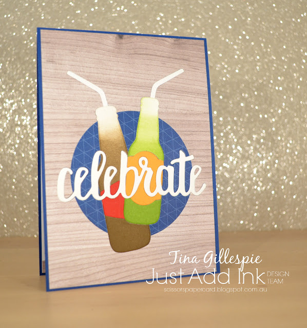 scissorspapercard, Stampin' Up!, Just Add Ink, Wood Textures DSP, Best Route DSP, Celebrate You Thinlits, Bottles and Bubbles Framelits, Itty Bitty Birthdays