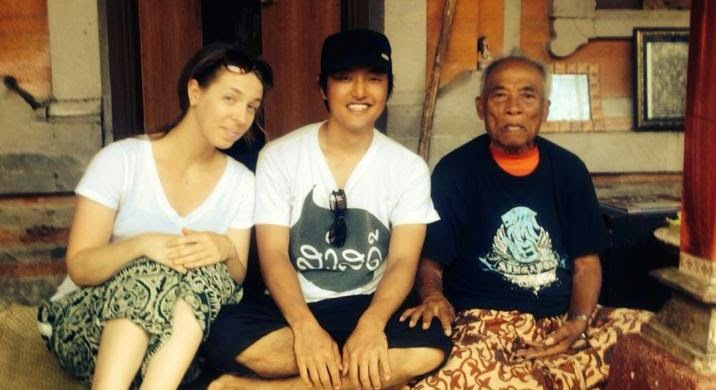 Japanese american couple in bali with ketut