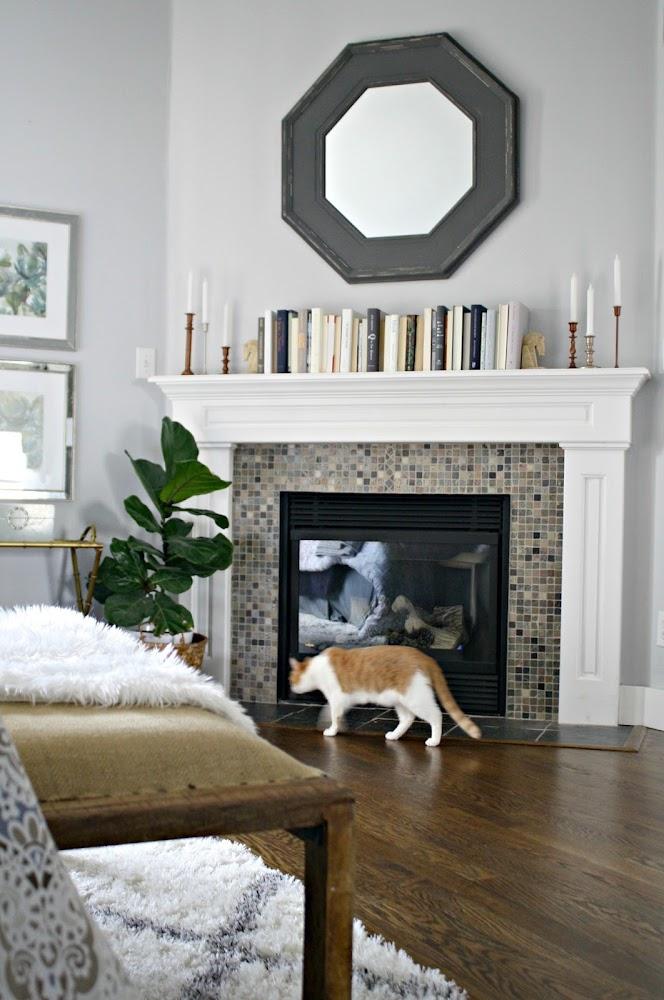 mosaic tile fireplace