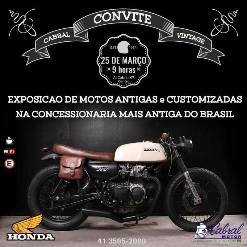 d8b2ffbe1 MOTOS ANTIGAS E CUSTOMIZADAS EXPOSIÇÃO NA CABRAL MOTOR HONDA