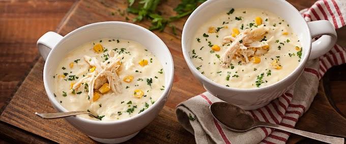 Sopa cremosa de frango e milho