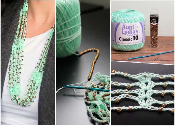 colgantes, collares, punto concha, crochet, abalorios, crochetería, bisutería, ganchillo