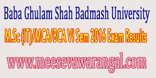 Baba Ghulam Shah Badmash University M.Sc (IT)/MCA/BCA VI Sem 2016 Exam Results